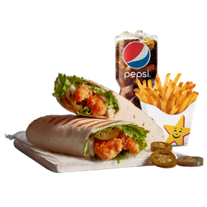 Sea Food, Hardees, Shrimps Wrap Meal - Spicy