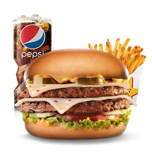 Combo, Chargrilled Burgers, Hardees, Jalapeno Double Cheeseburger Combo